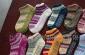 六色彩条短筒地板袜
